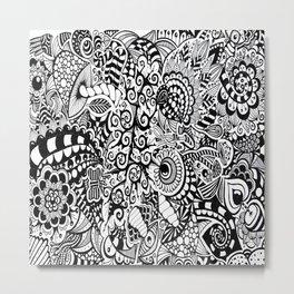 Mushroom madness black and white Metal Print