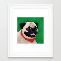 pug Framed Art Prints featuring Pug by Nir P