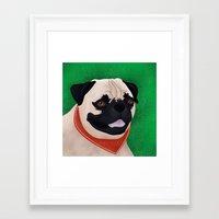 pug Framed Art Prints featuring Pug by Nir P