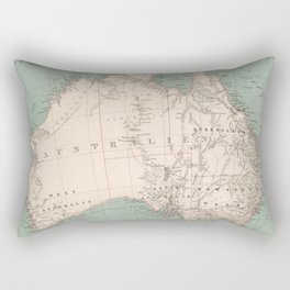 Vintage Topographic Map of Australia (1868) Rectangular Pillow