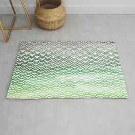 Black/Green/Yellow Green Watercolor Seigaiha Pattern Rug