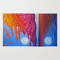 sia Area & Throw Rugs featuring reflection of the moon on the sea by giol's
