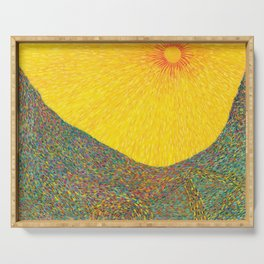 Here Comes the Sun - Van Gogh impressionist abstract Serving Tray