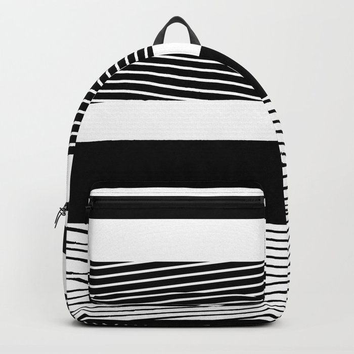 Black and white abstract striped pattern Backpack