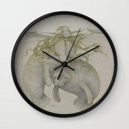 Manatee Mermaid 2014 Wall Clock