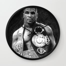 Mike Tyson Pencil Drawing Wall Clock