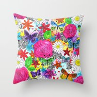 florence Throw Pillows featuring Florence  by sarah illustration