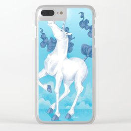 Stencil Unicorn on Teal Sky and Cloud Spray Clear iPhone Case