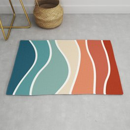 Colorful retro style waves Rug