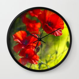 Red Poppies on green background #decor #buyart #society6 Wall Clock