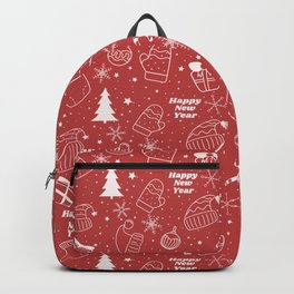 New Year Christmas winter holidays pattern with gifts, candys, christmas tree and toys, santa hat, s Backpack