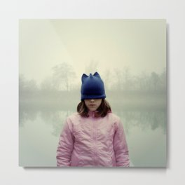 Sad girl with eyes covered by cap. Metal Print