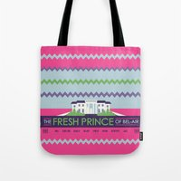 fresh prince Tote Bags featuring The Fresh Prince of Bel-Air by Dwele Rosa