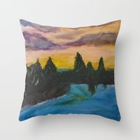 maine Throw Pillows featuring Maine by Lissasdesigns