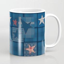Blue denim patchwork . Coffee Mug