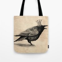 raven Tote Bags featuring Raven by Anna Shell