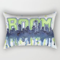 Seattle 12th Man Seahawks Painting Legion of Boom Art Rectangular Pillow