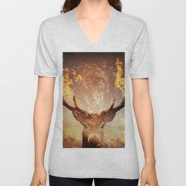 Wolf in the Flames Unisex V-Neck
