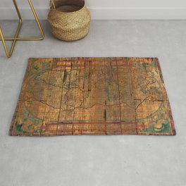 Distressed Old Map Rug