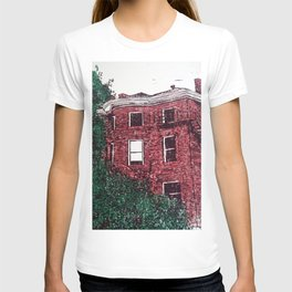 red brick house obstructed by trees linocut T-shirt