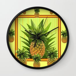 MODERN GREEN-YELLOW  HAWAIIAN PINEAPPLE ART Wall Clock