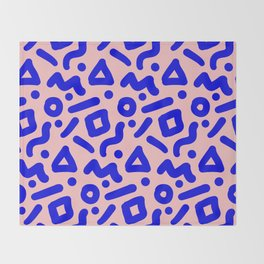 Doodle Pattern - Pink and Electric Blue Throw Blanket