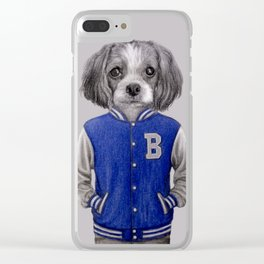 dog boy portrait Clear iPhone Case