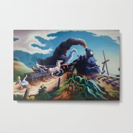 Classical Masterpiece 'Wreck of the Ol' 97' By Thomas Hart Benton Metal Print