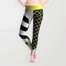 Eclectic Geometric - Yellow, Black And White Leggings
