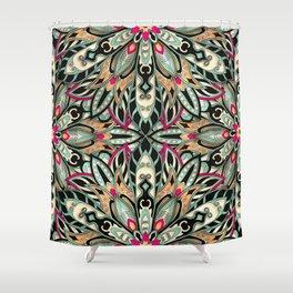 Tribal Geometric brown and green Mandala Shower Curtain