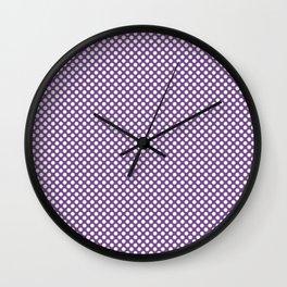 Royal Lilac and White Polka Dots Wall Clock