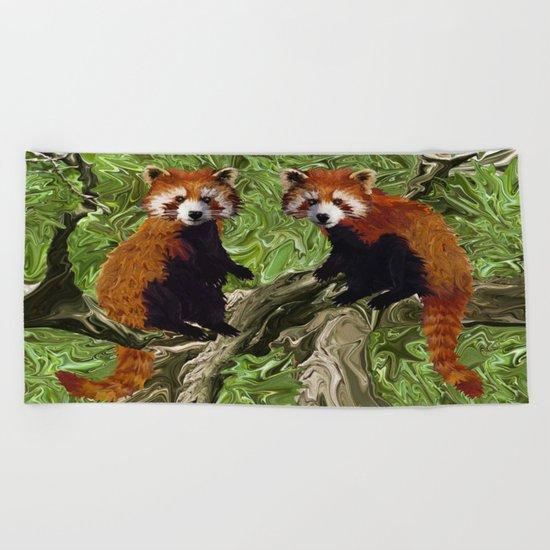 Frolicking Red Pandas Beach Towel