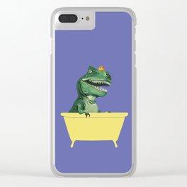 Playful T-Rex in Bathtub in Purple Clear iPhone Case