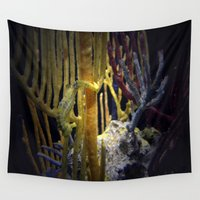 sea horse Wall Tapestries featuring Sea horse hang on!  by Katie Jean Images