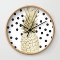 Gold Pineapple on Black and White Polka Dots by followmeinstead