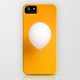 White balloon on yellow backdrop iPhone Case