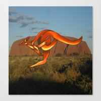 kangaroo Canvas Prints featuring Kangaroo by Knot Your World