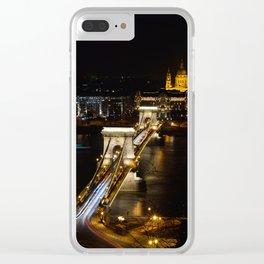 Szechenyi Chain bridge over Danube river, Budapest, Hungary. Clear iPhone Case