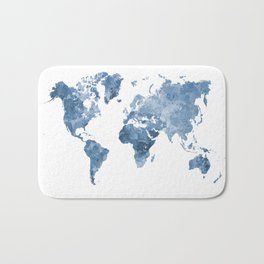 World map in watercolor blue Bath Mat