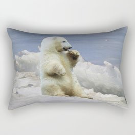Cute Polar Bear Cub & Arctic Ice Rectangular Pillow