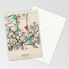 Colorful City Maps: Oldham, England Stationery Cards