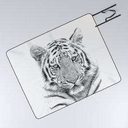 Black and white tiger Picnic Blanket