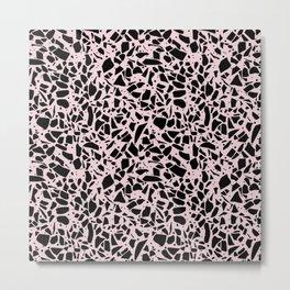 Terrazzo Spots Black on Blush Repeat Metal Print