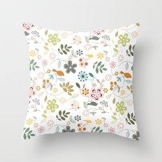 birds n flowers V1 Throw Pillow