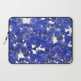 Little Blue Flowers on White Laptop Sleeve