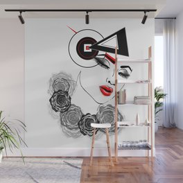 Modern Woman Face Illustration Wall Mural