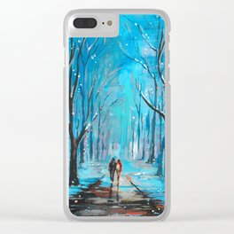 Walking in Winter Wonderland, Original Abstract / Contemporary Art Clear iPhone Case