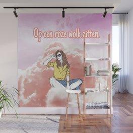 Op een roze wolk zitten. Wall Mural