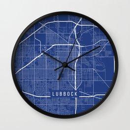 Lubbock Map, USA - Blue Wall Clock