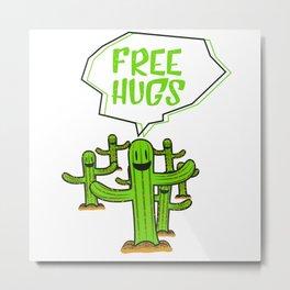 Cactus cacti free hug plant face smile saying funny gift Metal Print